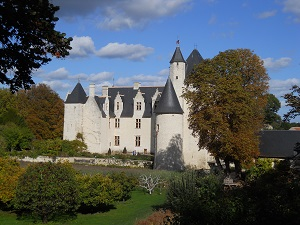 medieval castle and its park in autumn
